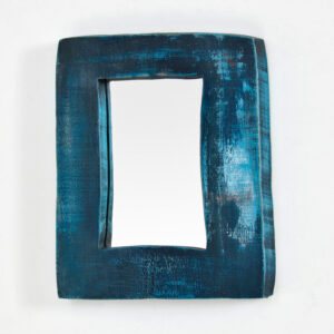 blue wooden mirror miracle house